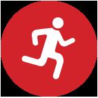 סמליל עגול ואדום של דמות באימון