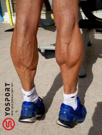 השריר מכווץ כשעומדים על קצות האצבעות