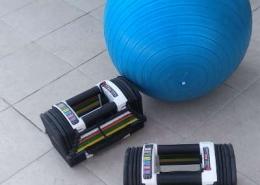 זוג משקולות אוניברסליות וכדור גדול כחול